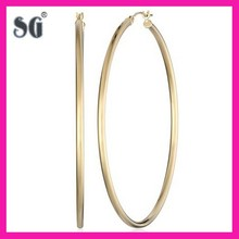 "Fashion Big Hoop Cool 14k GOLD EARRINGS FOR WOMEN-14k Yellow Gold Hoop Earrings (2"" Diameter)"
