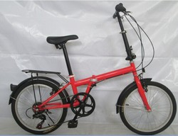 cheap 20 inch red Folding Bike with front and rear steel V-brake for sale