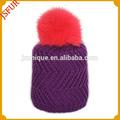 Hermosos colores con sombrero de piel de conejo Pom poms Baby Knit Hats