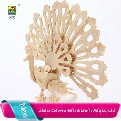 Top sale peacock 3D puzzle game educational toys factory 100 piece kids puzzles