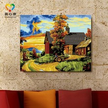 scene of rural oil painting by number kits wholesale