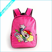Brand 2015 Red Kids Polyester Backpack School Bags Cheap