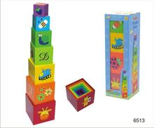 Plastic wooden toy block made in China