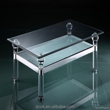 top grade glass acrylic layers dining table for home furniture with legs factory price