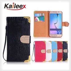 New Products Bling Wallet Case For Samsung Galaxy S6 Lizard Diamond Leather Case