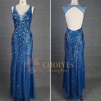 Instock and ready to ship royal blue prom dress Crystal Stone Evening Dress 2015