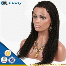 fashionable african long kinky twist micro braided lace wigs for black women