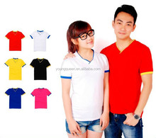 MY15 couple t-shirt stretch Lycra bulk v-neck t shirt wholesale custom t-shirt