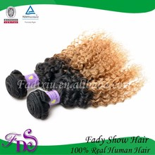 Virgin indian kinky curly hair Afro ombre hair weaves two tone hair extension bundles
