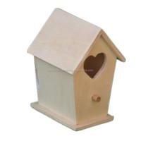 Wooden Bird House With Heart Shape, High Quality Wooden natural Bird House With Heart Shape,Paulownia Wooden Bird House