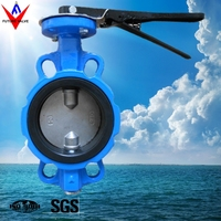 DN100 Cast Iron Wafer Type Butterfly Valve With Two Shaft