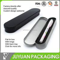 flat tin box with hinged lid and sponge for pen storage from tin products factory
