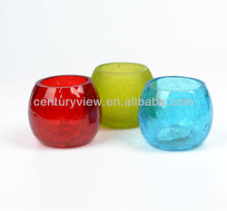 glass tealight holder crackle red glass candle holder