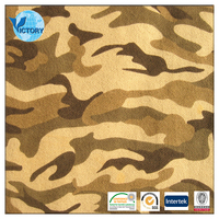 French Camouflage Print Terry Cloth Fabric