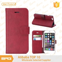 For iphone 6 plus folio leather cover,BRG hot-selling crazy horse grain wallet leather case for 5.5 inch iphone 6 plus