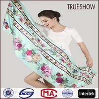 Chuxiu latest fashion stripe floral pattern scarf silk scarf