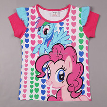 2-6Y (G6131#WHITE)Summer Girls My Little Pony Short T-shirts Fashion Kids Clothes