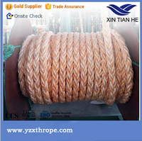 8 strand orange PP and PET mixed rope