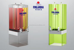 12L/16L/20L commercial Acrylic ice tube hot and cold drink /milk/juice/beverage dispenser/beer tower with Multiple spigots