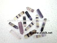 Wholesale Single Terminated 6 facet Banded Purple Fluorite Gemstone Healing Pencil Points