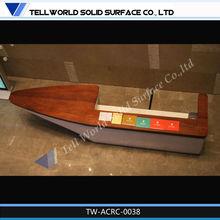 TW mármol artificial antigüedades diseño mostrador de recepción madera estructura