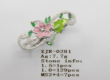 Pink Flower Agate and CZ stone Diamond Rings Price Two finger Rings Jewelry