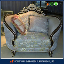 Newest Classical style hotel furniture living room sofa chair with through carved work high gloss brown foil painting wooden fr