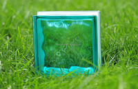 Turquoise color cloudy glass block for building decoration 19*19*8cm
