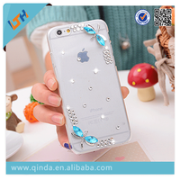 Newest! Hot Selling 2015 Newest fashionable diamond and pearl clear PU case For Iphone6plus