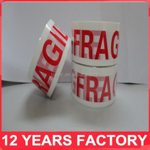 export to uk printed 48mm*66m fragile packing tape/fragile adhesive tape