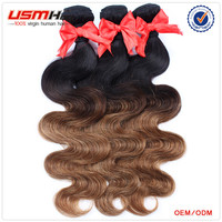 New fashion style! Hot sell natural human colored two tone hair weave