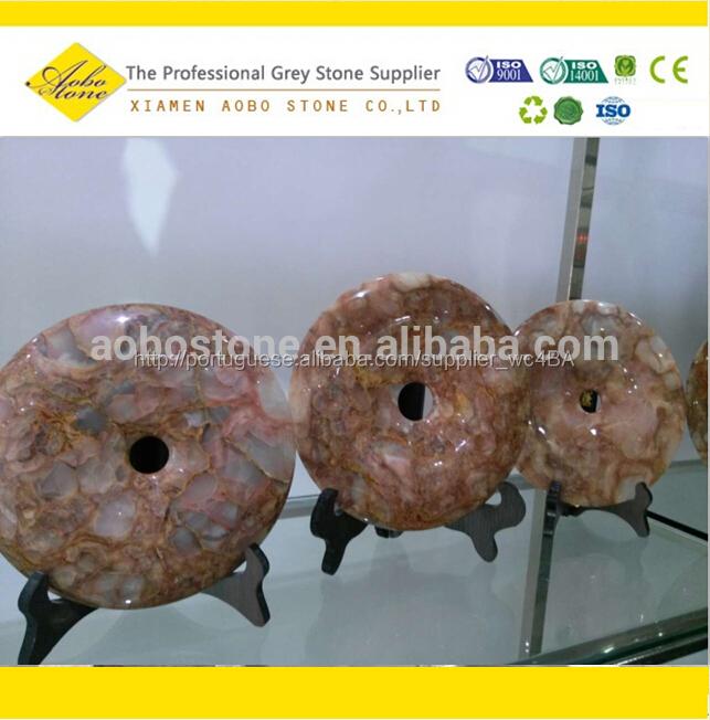 Exquisite rodada ônix artesanato de pedra estilo chinês artesanal ônix Pingan fivela