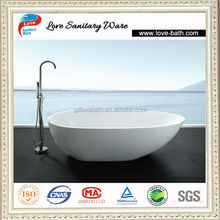 1800mm freestanding soaking and center drain artificial stone oval tub