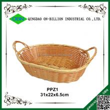 Cheap colored handmade plastic rattan storage baskets