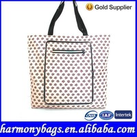 Fashion foldable 100% polyester tote bag with rainbow zip