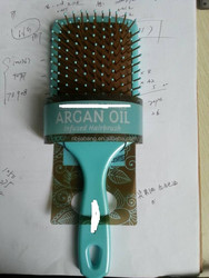 Pearl Finish Large Paddle Hair Brush with Cushion Polypins Infused with Argan Oil