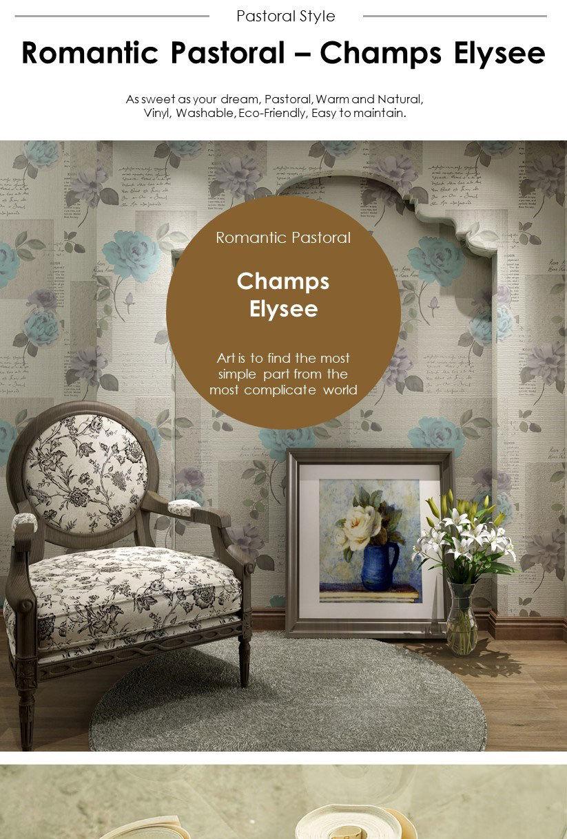 Mesu 럭셔리 유럽 스타일의 비닐 벽지 3D 꽃 벽지/아름다운 벽지 ...
