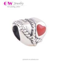 Brand Name Silver Jewelry Beads Accessories Online Shop Heart Shape Enamel Dubai Beads D029