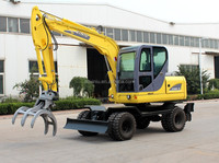 xiniu XN80-9 excavator sugarcane loader grab waste hydraulic log grab XN80-9 excavator hydraulic rotating grab
