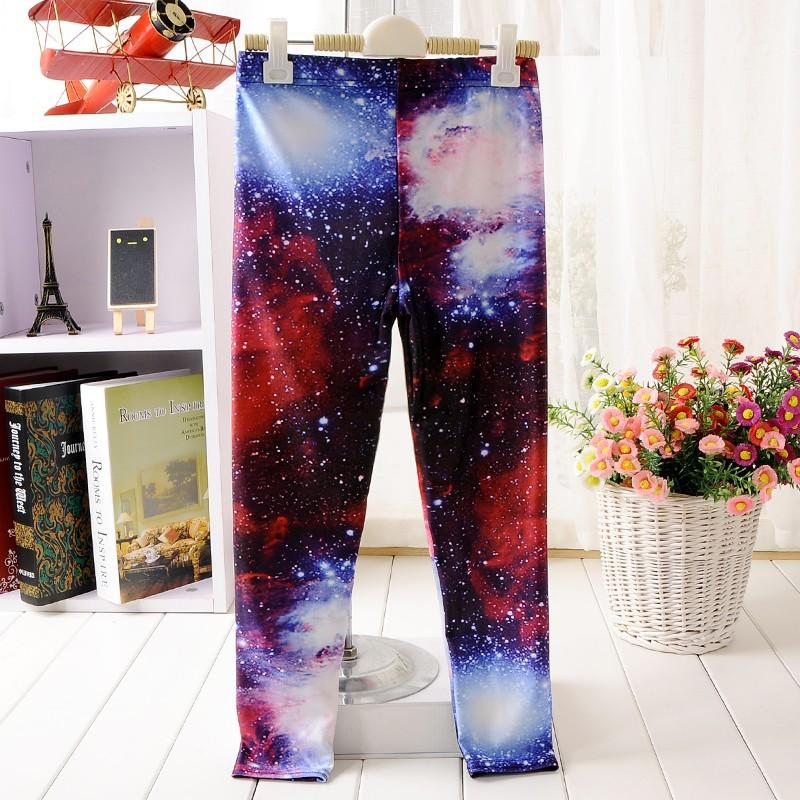 Мода девочка брюки Детская Галактика леггинсы детей pantss s, m, l, xl дети леггинсы