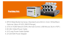 3.6mm Lens Metal Bullet Waterproof Camera & HD CCTV 720P 8 Channel DVR System