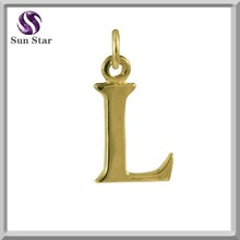 gold plated sterling silver Alphabet L charm dangle letter pendant charm option for DIY style