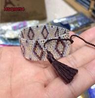 2015 Hot sale jewelry DIY nylon string tassel seed bead pattern bracelet