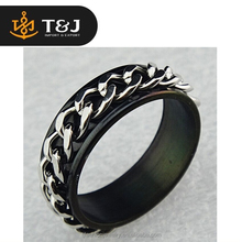 2015 party jewelry gift 316L custom Stainless Steel Black Chain rings beautiful mans ring