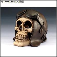 custom made plastic Skeleton Head Human Skull with Pilot Helmet & Goggles Statue Halloween Figurine