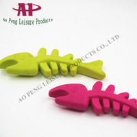 Pet Rubber Chew Toy Teething for Puppy Fish Skeleton Dog Toy
