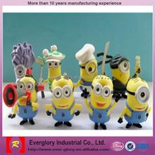 Custom cheap MacDonald promotion figure, 3D soft Despicable Me minon toy for wholesale,custom plastic toy figure