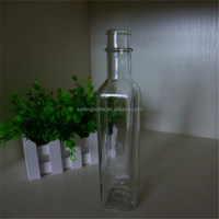 Clear square 250ml oilve oil glass bottle