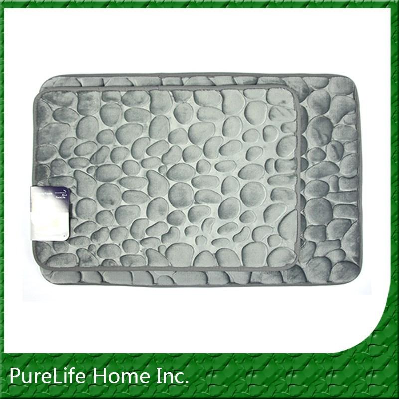 Wholesale flannel river rock memory foam bath rug set for River stone bath mat