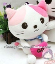 plush and stuffed cute cat with heart